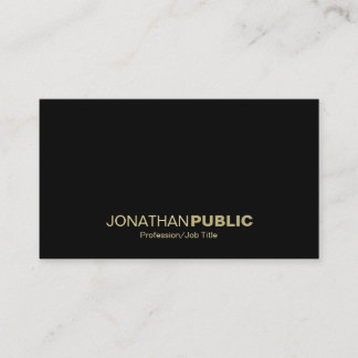 Elegant Gold Black White Simple Plain Cool Modern Business Card