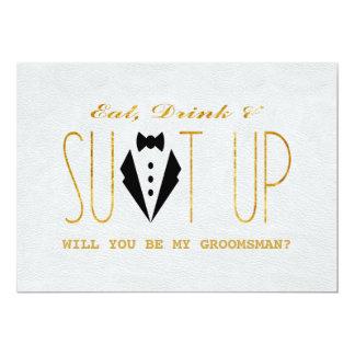 Elegant Gold & Black WILL YOU BE MY GROOMSMAN Card