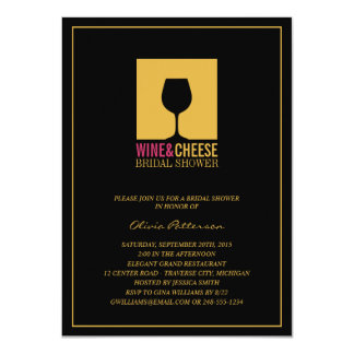 Elegant Gold Black Wine Bridal Shower Invitations