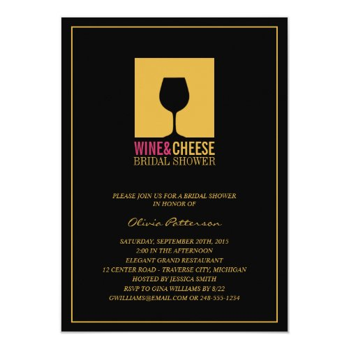gold black wine bridal shower invitations 45