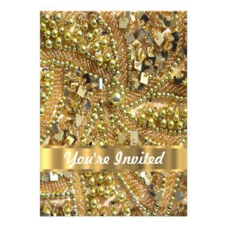 Elegant gold bling invite