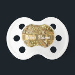 """Elegant gold bling pacifier<br><div class=""""desc"""">PERSONALIZE this stylish elegant chic sophisticated girly gold bling beaded sequin abstract   pattern ,  with your own text,  name or monogram,  initials .  CUSTOMIZE Use the CUSTOMIZE BUTTON  to adjust the text,  size,  font position by drag and drop.</div>"""