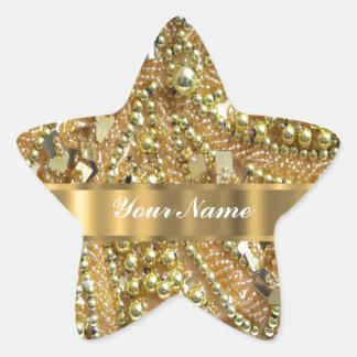 Elegant gold bling star sticker