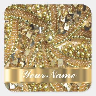 Elegant gold bling square sticker