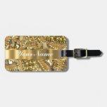 Elegant gold bling travel bag tag