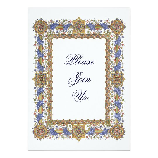 Elegant Gold & Blue Baroque Party Invitations