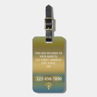 Elegant Gold Blue Green Stripe Luggage Tag