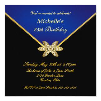 Elegant Gold Blue Ladies Birthday Party Invitation