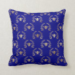 Elegant Gold & Blue Queen Bee Throw Pillow