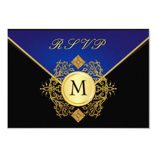 Elegant Gold Blue Special Occasion RSVP Cards
