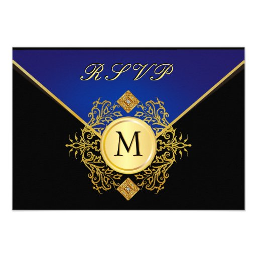 Elegant Gold Blue Special Occasion RSVP Cards Personalized Invites