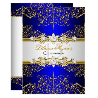 Elegant Gold Blue Vintage Glamour Quinceanera Card