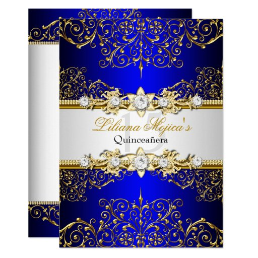 Elegant Gold Blue Vintage Glamour Quinceanera Invitation