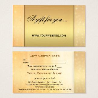 Elegant Gold Bokeh Gift Certificate Template