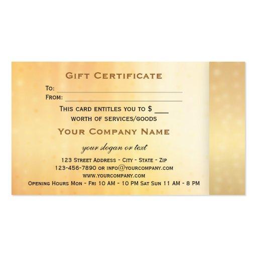 Elegant Gold Bokeh Gift Certificate Template Business Card (back side)