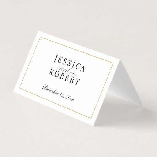 Elegant Gold Border Bride And Groom Table Guest Place Card Zazzle
