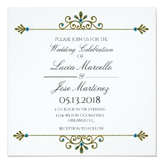 Elegant Gold Border Calligraphy Wedding Invitation