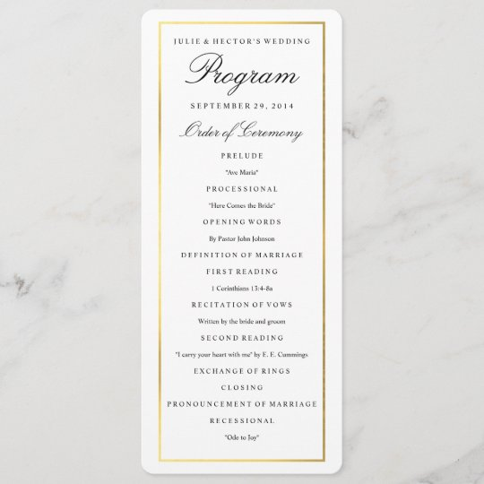 elegant gold border wedding program template zazzle com