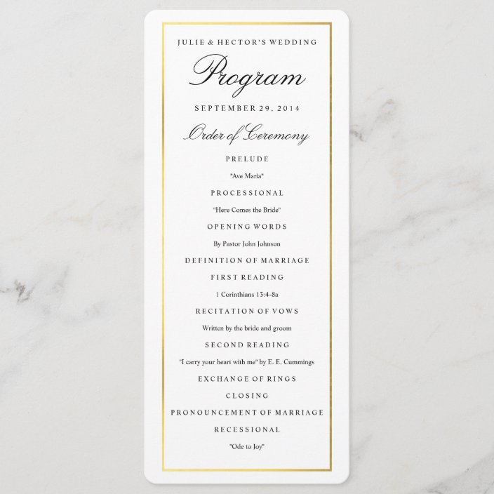 Elegant Gold Border Wedding Program Template Zazzle Com