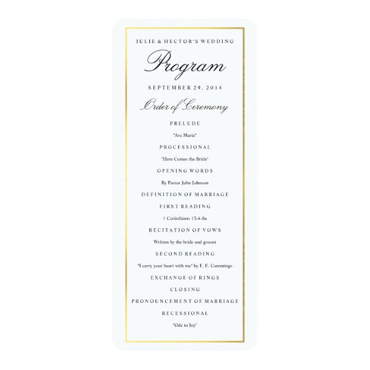 Elegant Gold Border Wedding Program Template  ZazzleCom