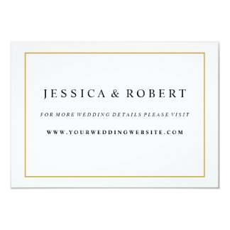 Elegant Gold Border Wedding Website Insert Card