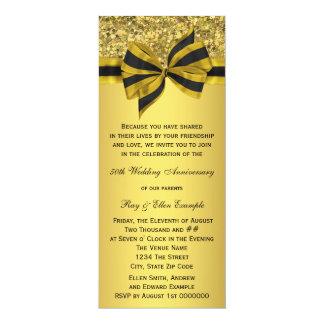 Elegant Gold Bow 50th Anniversary Party 4x9.25 Paper Invitation Card