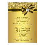 Elegant Gold Bow 50th Anniversary Party Personalized Announcement