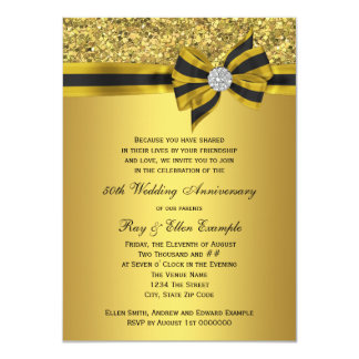 Elegant Gold Bow 50th Anniversary Party 4.5x6.25 Paper Invitation Card