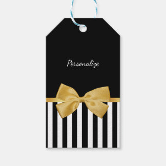 Elegant Gold Bow Black and White Stripes With Name Gift Tags