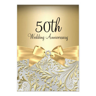 50th Wedding Anniversary Gift Certificate Template : Elegant Gold Bow & Floral Swirl 50th Anniversary Card