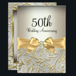 "Elegant Gold Bow &amp; Floral Swirl 50th Anniversary Invitation<br><div class=""desc"">50th Wedding Anniversary Invitation. Elegant gold diamond bow &amp; floral swirl design. Please note: All flat images! They do not have real jewels!</div>"