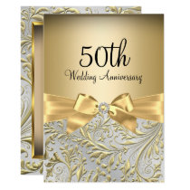 Elegant Gold Bow Floral Swirl 50th Anniversary Invitation