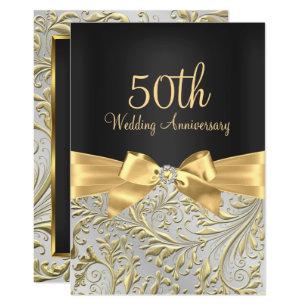 Elegant Gold Bow & Floral Swirl 50th Anniversary Invitation
