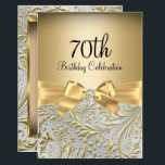 "Elegant Gold Bow Floral Swirl 70th Birthday Party Invitation<br><div class=""desc"">Elegant Gold Bow Floral Swirl 70th Birthday Party Invitation. Elegant gold diamond bow & floral swirl design. Please note: All flat images! They do not have real jewels!</div>"