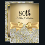 "Elegant Gold Bow Floral Swirl 80th Birthday Party Invitation<br><div class=""desc"">Elegant Gold Bow Floral Swirl 80th Birthday Party Invitation. Elegant gold diamond bow & floral swirl design. Please note: All flat images! They do not have real jewels!</div>"