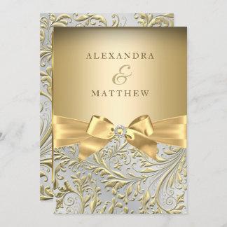 Elegant Gold Bow Golden Leaf Wedding Invitation