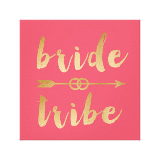 elegant gold bride tribe arrow wedding rings canvas print