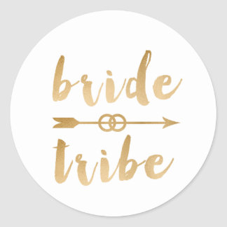 elegant gold bride tribe arrow wedding rings classic round sticker