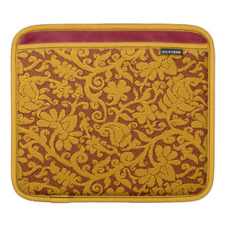 Elegant Gold Brocade Pattern On Red iPad Sleeve
