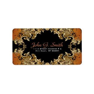 Elegant Gold Brown & Black  Vintage Floral Frame Personalized Address Label
