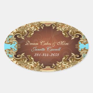 Elegant Gold & Brown Tones Vintage Frame 2 Oval Sticker
