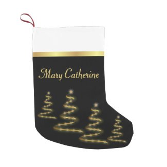 Elegant Gold Brushstroke Trees and Stars on Black Small Christmas Stocking