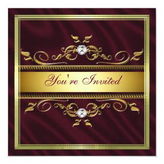 Elegant Gold Burgandy Silk/Satin Party Invitation