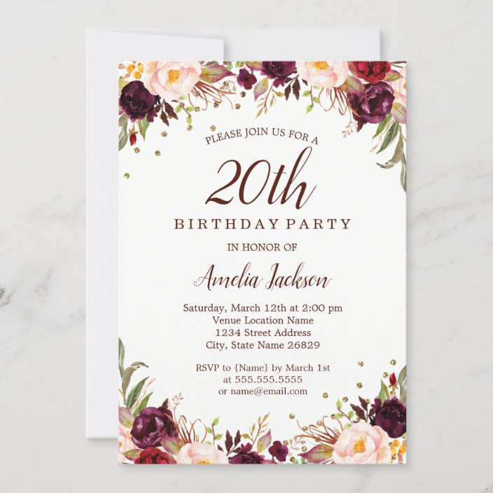 elegant gold burgundy floral 20th birthday party invitation zazzle com