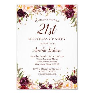 Elegant Gold Burgundy Floral 21st Birthday Party Card