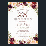 "Elegant Gold Burgundy Floral 90th Birthday Party Invitation<br><div class=""desc"">More pretty floral Birthday Invitations in the Little Bayleigh Store!</div>"