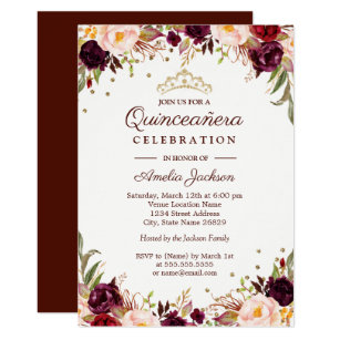 3b60993062 Elegant Gold Burgundy Floral Quinceanera Invitation