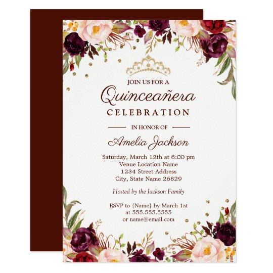 Elegant Gold Burgundy Floral Quinceanera Invitation Zazzle Com