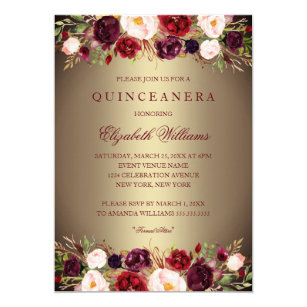 Burgundy Quinceanera Invitations Zazzle