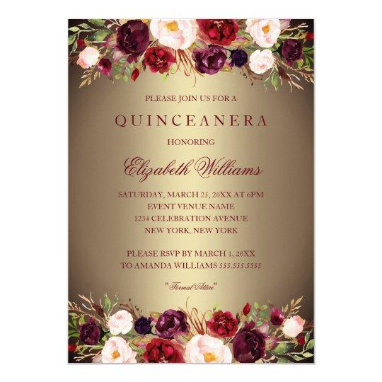 elegant gold burgundy rose quinceanera invite zazzle com